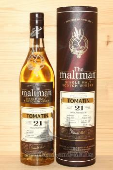 Tomatin 1997 - 21 Jahre Bourbon Hogshead No. 2982 mit 49,8% von The Maltman - single Malt scotch Whisky