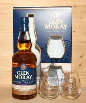 Glen Moray Chardonnay Cask Finish - Speyside single Malt scotch Whisky mit 40,0% inkl 2 Whisky Gläser