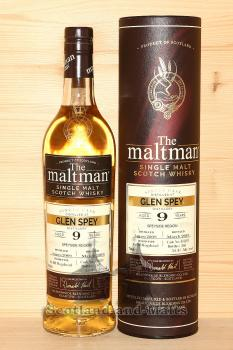 Glen Spey 2009 - 9 Jahre Bourbon Hogshead No. 804609 mit 55,4% von The Maltman - single Malt scotch Whisky