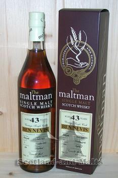 Ben Nevis 1972 - 43 Jahre fino Sherry Cask No: 1 mit 42,5% single Malt scotch Whisky von Maltman