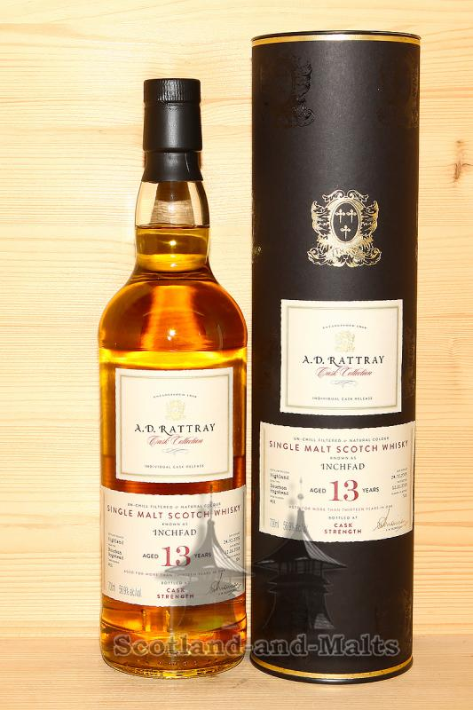Inchfad 2005 - 13 Jahre Bourbon Hogshead No. 431 mit 56,9% (heavily peated single Malt von Loch Lomond Distillery) - A.D. Rattray