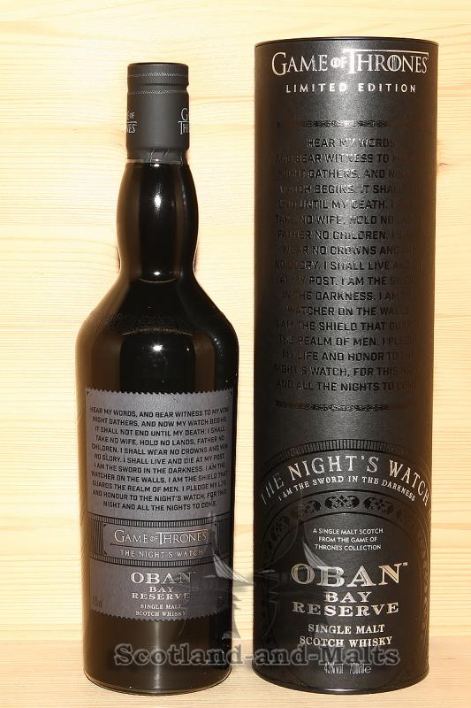 Oban Bay Reserve - Game of Thrones The Night's Watch - single Malt scotch Whisky