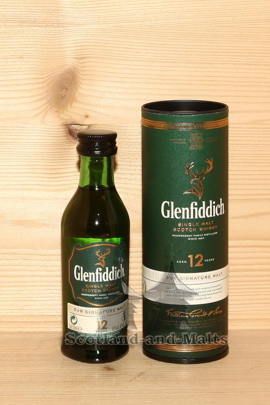 Glenfiddich 12 Jahre Signature Malt mit 40,0% - Single Malt scotch Whisky in der 50ml Miniatur