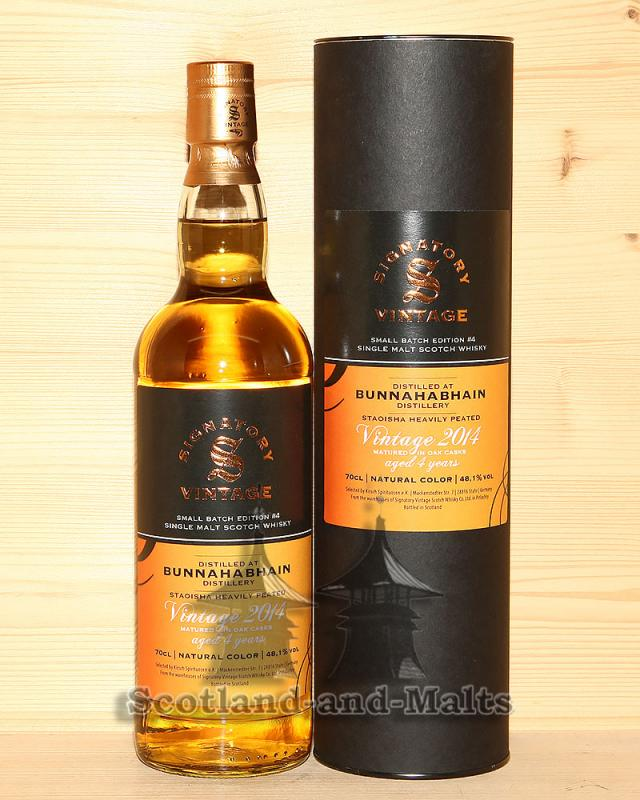 Bunnahabhain 2014 Batch #4 - 4 Jahre Staoisha Heavily Peated Islay single Malt Whisky mit 48,1% von Signatory