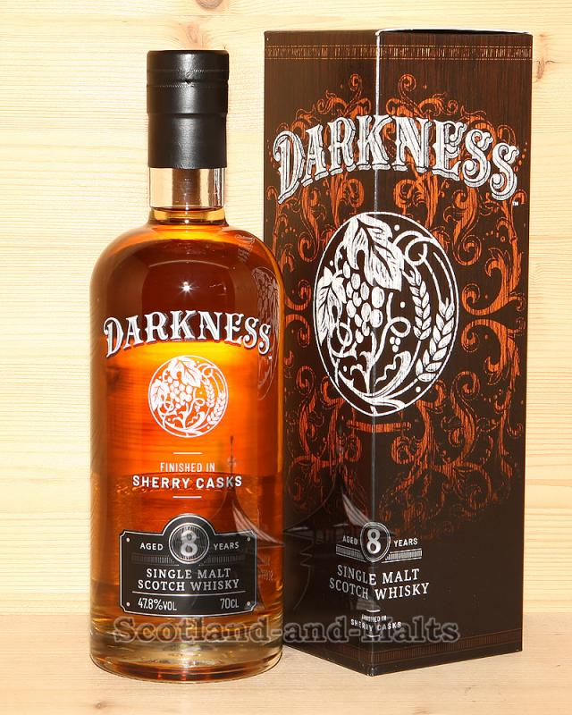 Darkness 8 Jahre Finished in Sherry Casks Finish single Malt scotch Whisky mit 47,8%/vol. von Atom Brands