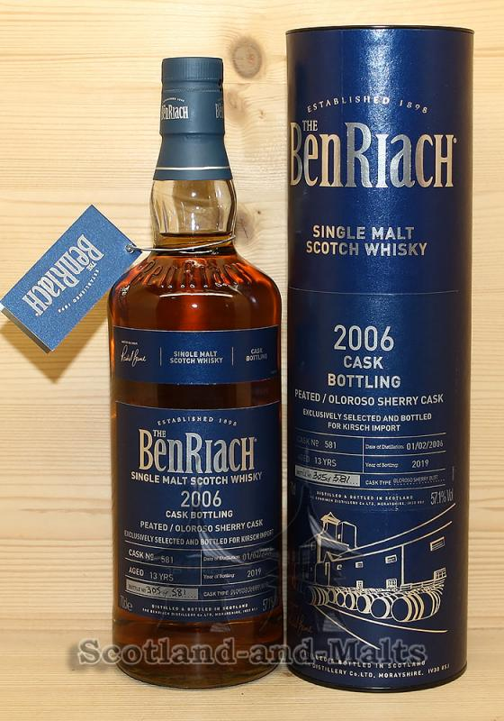 Benriach Peated 2006 - 13 Jahre Oloroso Sherry Cask No. 581 mit 57,1%
