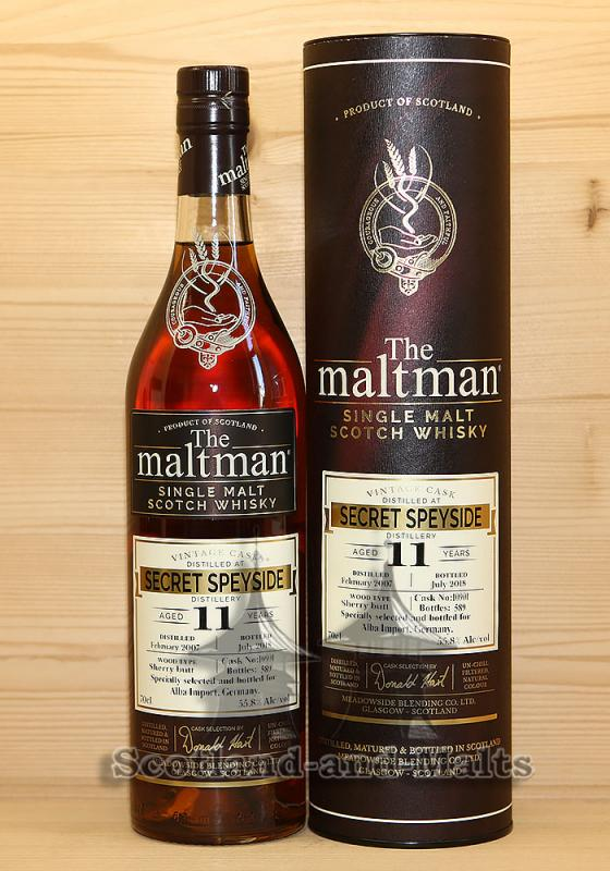 Secret Speyside 2007 - 11 Jahre Sherry Butt No. 10901 mit 55,8% von The Maltman - single Malt scotch Whisky