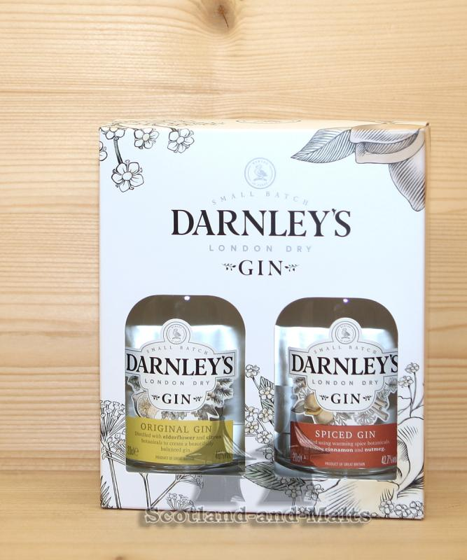 DARNLEY'S Gin Giftpack - Darnley's Original (Elderflower) Gin mit 40% und Darnley's Spiced Gin mit 42,7% - small Batch London Dry Gin
