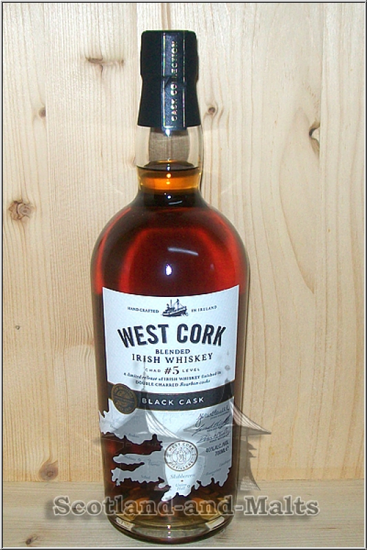 West Cork Black Cask - Double Charred Bourbon Cask Finish - Blended Irish Whiskey