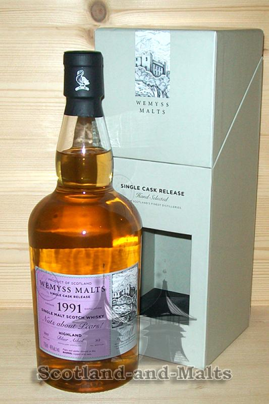 Blair Athol 1991 / 2015 - Nuts about Pears - 24 Jahre Bourbon Barrel mit 46,0 % von Wemyss Malts - single Malt scotch Whisky