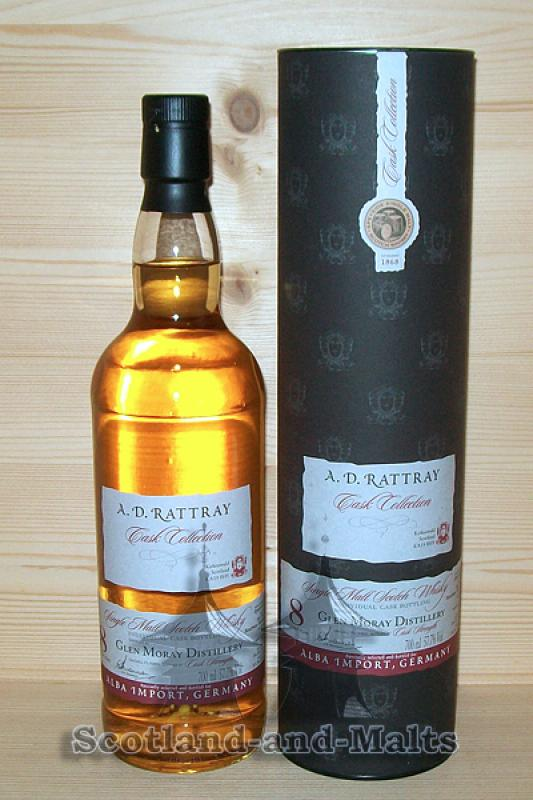 Glen Moray 2007 - 8 Jahre first fill Bourbon Barrel No. 5452 mit 57,7% - A. D. Rattray