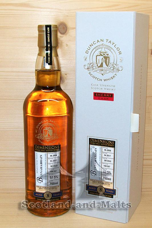 Bunnahabhain 2008 - 8 Jahre Oak (Sherry) Cask No. 3813533 mit 52,5% - Duncan Taylor New Dimension