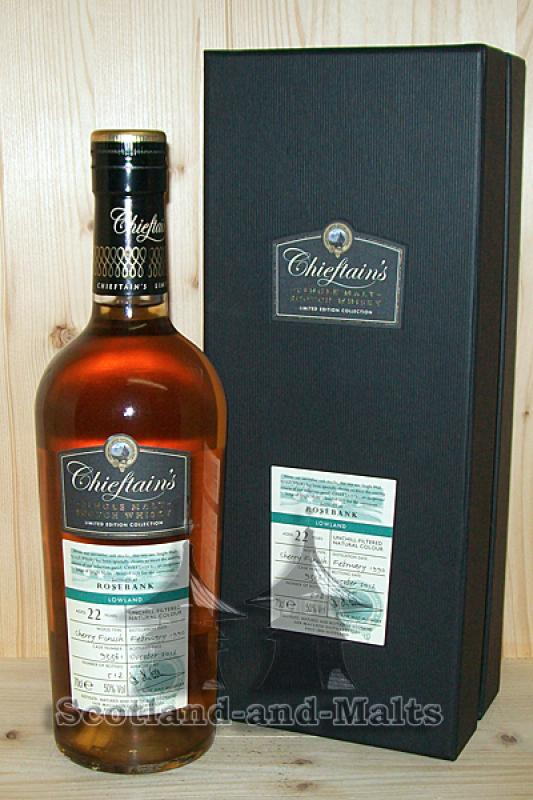 Rosebank 1990 - 22 Jahre Bourbon Cask + Sherry Finish Cask No. 93361 mit 50,0%