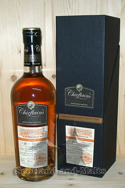 Caperdonich 1995 - 18 Jahre Sherry Hogshead No. 95054 / 95057 mit 48,0% - Chieftains / Sample ab