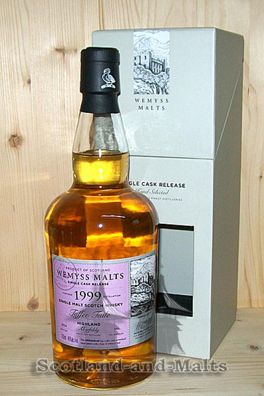 Aberfeldy 1999 / 2014 - Toffee Tuile - 15 Jahre Bourbon Hogshead mit 46,0% von Wemyss Malts - single Malt scotch Whisky
