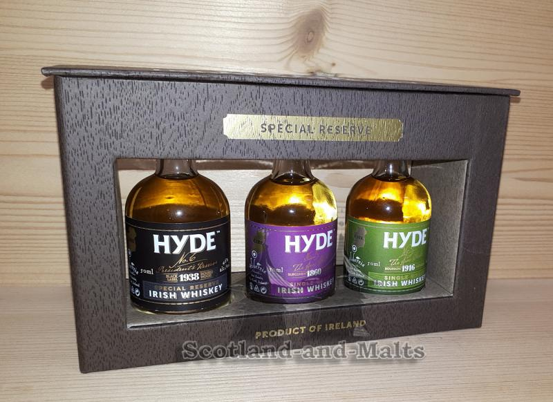 HYDE No.3 + No. 5 + No. 6 - Geschenkset mit 3 Miniaturen a. 50ml - Irish Whiskey