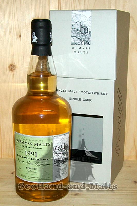 Aultmore 1991 / 2013 - Sweet Mint Infusion - 22 Jahre Bourbon Hogshead mit 46,0% von Wemyss Malts - single Malt scotch Whisky
