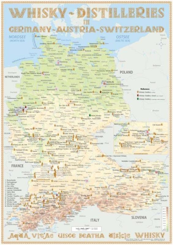 Tasting-Map Whisky Distilleries Germany + Austria + Switzerland - kleine Whiskykarte