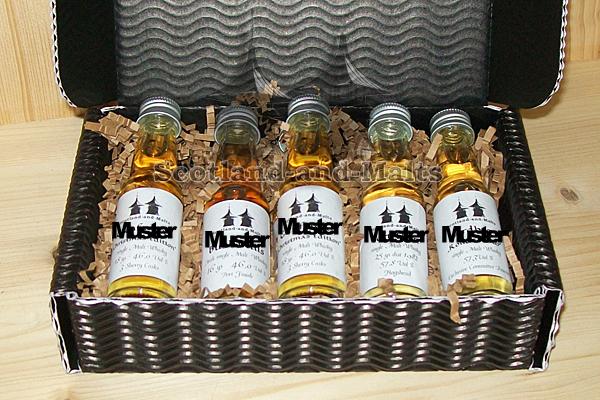 So könnten Ihre 5 Wunsch-Whiskys in der Präsent-Box aussehen